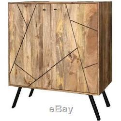 Amar Retro Vintage Light Mango Wine Rack Cabinet Sideboard Vintage Furniture