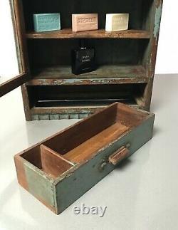 Antique Vintage Indian Art Deco Display Bathroom Kitchen Cabinet. Teal And Teak