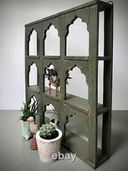 Antique Vintage Indian Furniture. 9 Mughal Arched Display Unit. Khaki Green