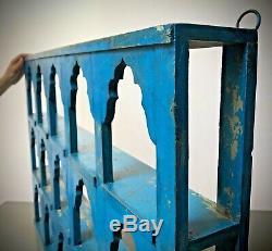 Antique Vintage Indian Furniture. Large Display / Shelving Unit. Sapphire Blue