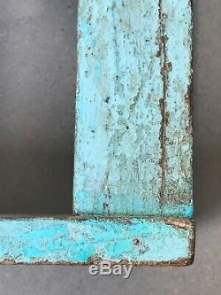 Antique Vintage Indian Furniture. Mughal Arch Display Unit. Distressed Turquoise