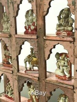 Antique Vintage Indian Furniture. Mughal Arch Display Unit. Pink & Jade
