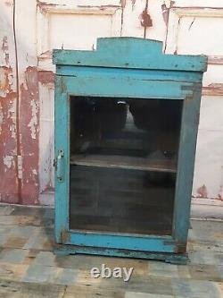 Antique Vintage Rustic Blue Wooden Indian Display Bathroom Kitchen Wall Cabinet