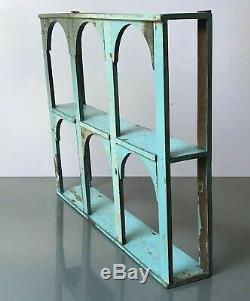 Antique/vintage Indian Furniture. Arched Teak Display Unit. Baby Blue & Mushroom