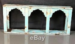 Antique/vintage Indian Furniture. Teak Arched Display Unit. Distressed Aquamarine