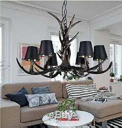 Antler Vintage Chandelier Deer Horn Resin 6 Lights Retro Style Lights Rural Lamp