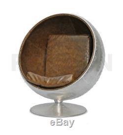 Aviator Ball Pod Chair Spitfitre Vintage Brown Leather Retro Swivel