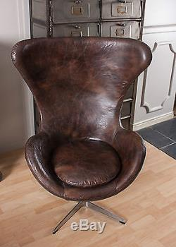 Aviator Egg Chair Real Brown Leather Vintage Real Leather Metal Swivel Retro