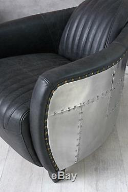 Aviator armchair Black Real Leather Aluminium Aeroplane Designer