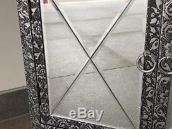 Blackened Silver Metal Embossed Mirror Cabinet Chest Cupboard Sideboard Bedside