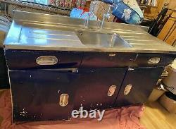 Blue English Rose Kitchen Sink Unit, Vintage, Retro, Basin, Aluminium. 1950s