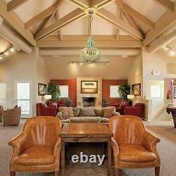 Blue Wood Bead Chandelier Pendant Light Vintage Farmhouse Rustic Kitchen Ceiling