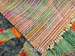 Boujad Handmade Moroccan Vintage Rug 5'4x8'5 Patchwork Colorful Berber Wool Rug