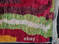 Boujad Handmade Moroccan Vintage Rug 5'5x8'6 Abstract Red Pink Berber Carpet