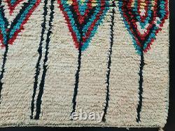 Boujad Handmade Moroccan Vintage Rug 5'5x8'6 Geometric Beige Berber Wool Rug