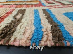 Boujad Handmade Tribal Moroccan Rug 5'8x8'7 Striped Pastel Colors Berber Rug