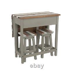 Breakfast Bar Table Set with 2 Stools, Grey Vintage Drop Leaf, Dining, Kitchen