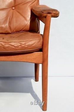 Brown Leather Arm Chair Swedish Göte Möbler, Nässjö, Vintage 1960s used