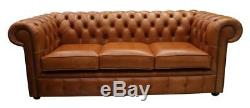Chesterfield 3 Seater Sofa Settee Vintage Saddle Aniline Leather Brown Tan OE