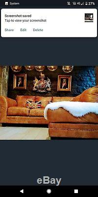 Chesterfield Leather tan aniline brown vintage 4/5 seater Corner Sofa
