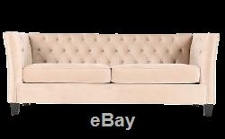Chesterfield Modern Contemporary 3 Seater Mink Velvet Sofa Settee FAST DELIVERY