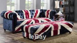 Chesterfield Union Jack Handmade Velvet Sofa 3 Seater Settee Retro Vintage