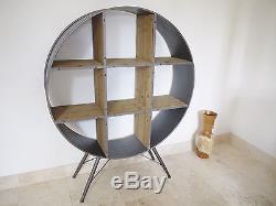 Circular Retro Vintage Industrial Metal / Wood Shelving Bookcase Display Cabinet