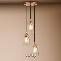 Cluster 3 Retro Industrial Lamp Cloche Glass Shade Loft Ceiling Pendant Lighting