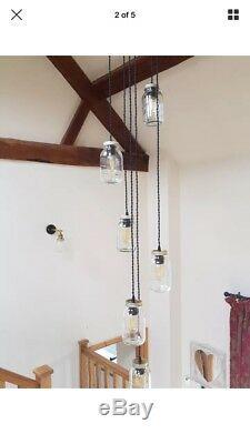 Cluster of 5 Kilner/Eerin Mason Preserve Jam Jar Ceiling Pendant Light