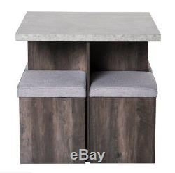 Compact Dining Table and Chairs Space Saving Kitchen Grey Set 4 Small Stools