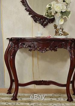 Console Table Mahogany Wood Side End Table Baroque Vintage Style Carved Brown