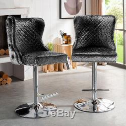 Crushed Velvet Bar Stool Knocker Back Kitchen Breakfast Bar Stool Swivel Chair