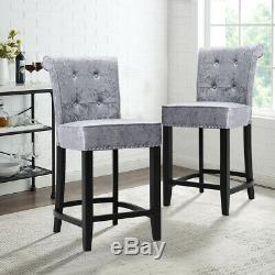 Crushed Velvet Bar Stool Tufted With Ring Knocker Back And Studs Footrest Stools
