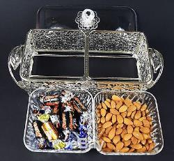 Crystal and Silver Plated Metal Tray With 2 Plastic Bowls Dry Fruit Sweet Tray