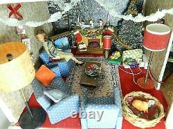 Customised Tri-ang Lunby Christmas Dolls Home House + Furniture No65 + Lighting