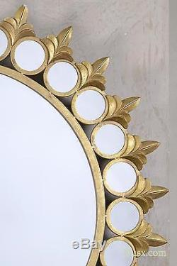 DUSX Joie De Vivre Sunburst Gold Round Large Metal Circle Mirror 113 x 113cm