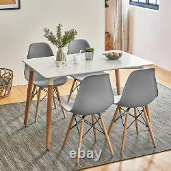 Dining Table Set With 4 / 6 Grey Retro Chairs Wooden Legs Room Kitchen Furniture