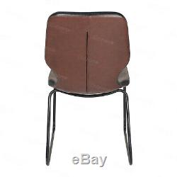 Dining Table and 4 Chairs Padded Set Faux Leather Metal Legs Vintage Industrial