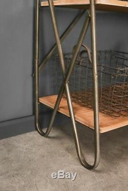 Display Shelf Vintage Industrial Style Metal Wood Shelving Bookcase Storage