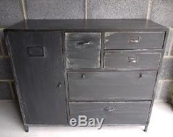Distressed Dark Grey Large Industrial Cabinet 5 Drawer 1 Door Side Cupboard Unit