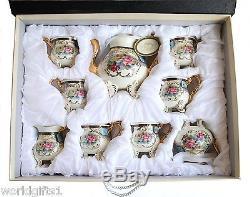 EURO Porcelain 12-pc Dining Tea Set Floral & Blue, Vintage Service for 6