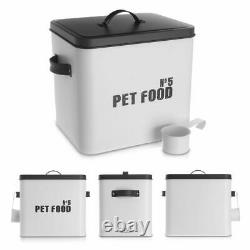 Enamel Coated Pet Food Metal Storage Tin Box Container Puppy Kitten Cat Dog Lid