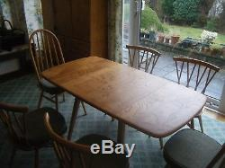 Ercol drop leaf square folding dining table plus 4 candlestick & 2 quaker chairs