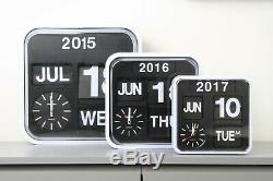 Fartech Retro Modern 9.5 Calendar Auto Flip Desk Wall Clock Black White