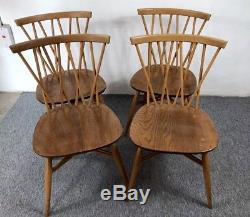 Four Vintage Ercol Candlestick Dining Chairs