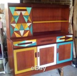 G-plan sideboard, upcycled, retro, geometric, with lights, display cabinet