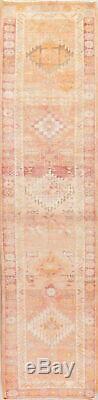 Geometric Tribal ORANGE PINK Oushak Turkish Oriental Runner Rug Distressed 3x12