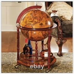 Globe Wine Bar Cabinet Drinks Container Bottle Storage Vintage Solid Wood Retro