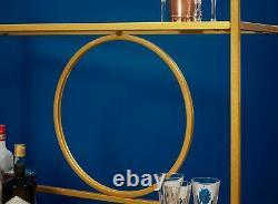 Gold Drinks Storage Trolley Kitchen Cart Bar Alcohol Rectangular