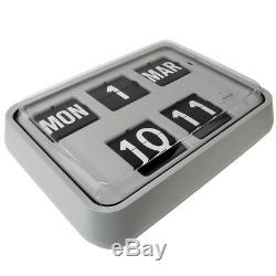 Grayson Light Grey Retro Flip Clock Banking Hall Clock Calendar Clock G231